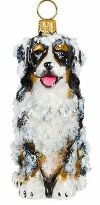 Snow Covered Sitting Bernese Mountain Dog Polish Glass Christmas Ornament