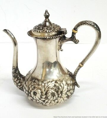Antique Stieff Sterling Silver Repousse Hand Chased Floral Teapot 14.7ozt