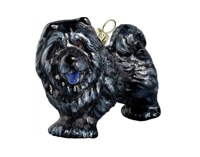 Black Chow Chow Standing Dog Polish Blown Glass Christmas Ornament