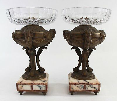 Antique Art Deco 2 Val Saint Lambert Cut Crystal Bronze Compote Bowl Centerpiece