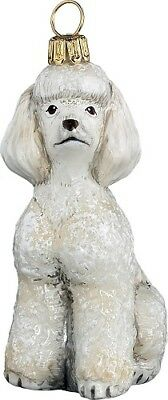 White Toy Poodle Dog Polish Blown Glass Christmas Ornament Holiday Decoration