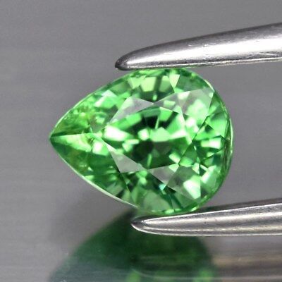 VS 0.61ct 5.3x4.3mm Pear Natural Vibrant Green Tsavorite Garnet, Tanzania