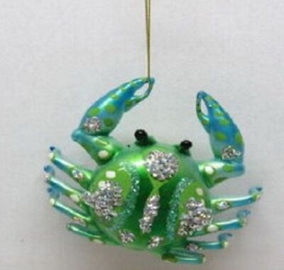 December Diamonds Blue and Green Crab Glass Christmas Tree Ornament Decoration