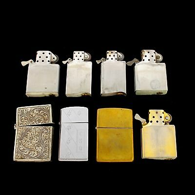 Lot Of Zippo Lighters & Inserts Parts Repair Vintage To Modern 1 Silver Engraved