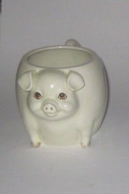 3D PIG Face BODY w/Tail HANDLE Vintage QUON QUON JAPAN Pottery COFFEE MUG