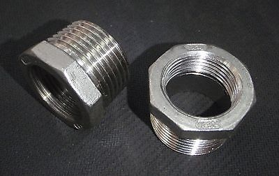 """STAINLESS STEEL BUSHING REDUCER 1"""" x  3/4"""" NPT PIPE BS-100-075"""