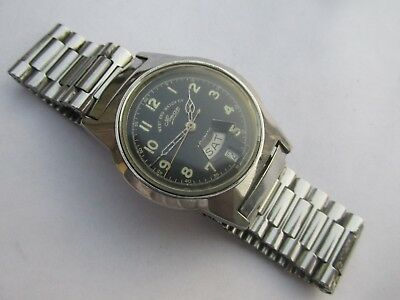 Vintage Men's West End Watch Co Sowar Automatic 17J Day-Date Watch Swiss Made