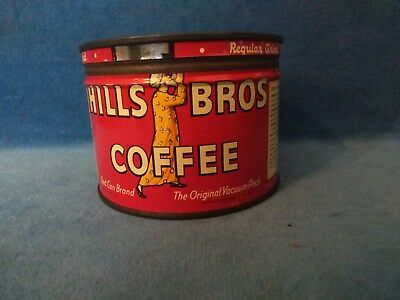 HILLS BROS COFFEE Tin FREE SAMPLE CAN Half Pound Size Not For Sale Reheatable