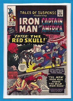 TALES OF SUSPENSE #65_MAY 1965_F/VF_CAPTAIN AMERICA_1st SILVER AGE RED SKULL!