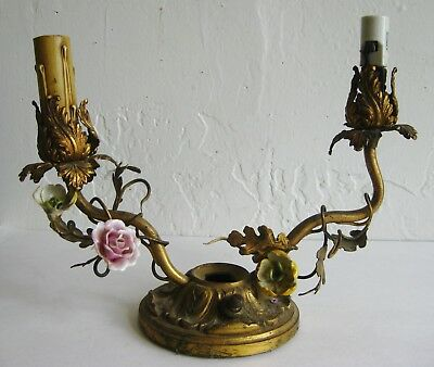 Antique Victorian Cast Bronze Flower 2 Candlestick Candelabra Sconce Ornament