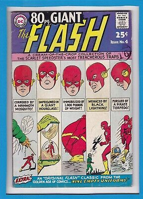 "80 Pg GIANT_THE FLASH #4_OCTOBER 1964_FINE+_""FLASH'S MOST TREACHEROUS TRAPS""!"