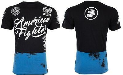 AMERICAN FIGHTER Mens T-Shirt TRINITY Athletic BLACK BLUE CRYSTAL Biker UFC $40