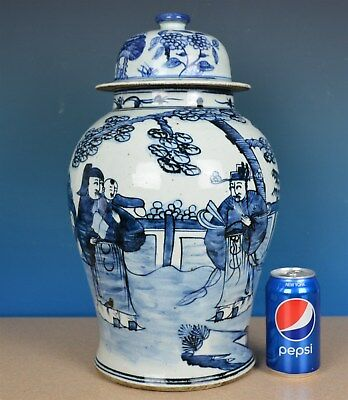 Magnificent Antique Chinese Blue And White Porcelain Vase Rare Z8858