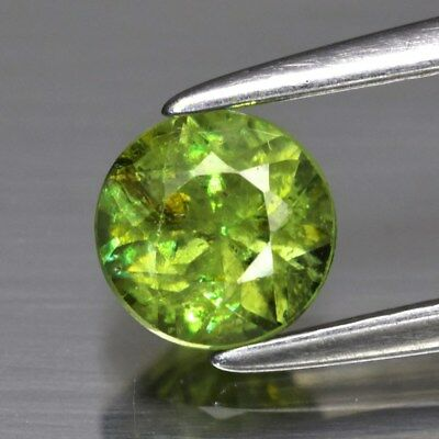 0.67ct 5mm Round Brilliant Natural Medium Yellowish Green Demantoid Garnet