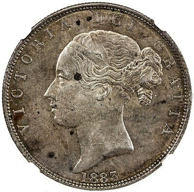 GREAT BRITAIN: Victoria, 1837-1901, silver 1/2 crown, 1883, NGC AU58