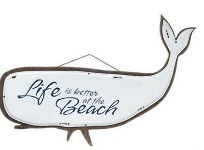 Life is Better At the Beach Whale Nautical Wall Hanging Sign Home Decoration