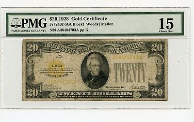 1928 $20 Sm Size Gold Certificate Note Fr#2402 (AA Block) Choice Fine 15 PMG
