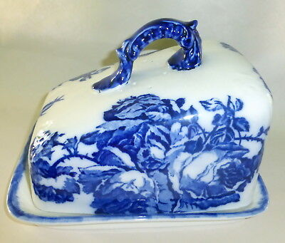 Vintage Ironstone England Staffordshire Covered Cheese Butter Keep Flow Blue