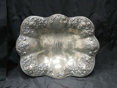 """Sterling Silver Repousse Dish Monogrammed 148g 9"""""""