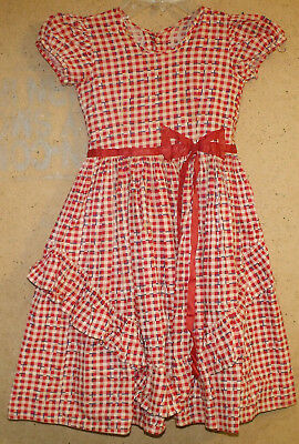 Vintage 1940's 1950's Little Girls Red Plaid Ruffled Puff Sleeve Dress Small 5 6