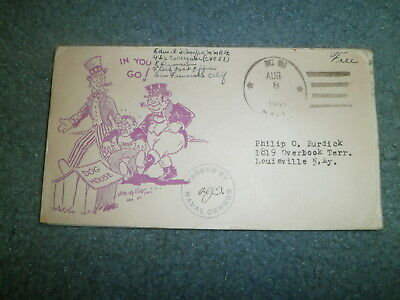 "Wwii Patriotic Cover:  1943 W/censor, Free Frank, ""japan In The Dog House"""