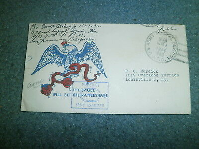 "Wwii Patriotic Cover:  1944 W/censor, Free Frank, ""the Eagle Will Get The Snake"