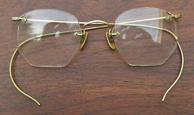 Antique American Optical 1/10 12K GF Gold Filled Wire Rim Eyeglasses Frames