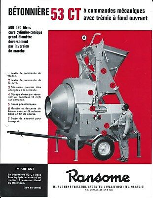 Equipment Brochure - Ransome 53CT Betonniere Cement Mixer - FRENCH lang (E4465)