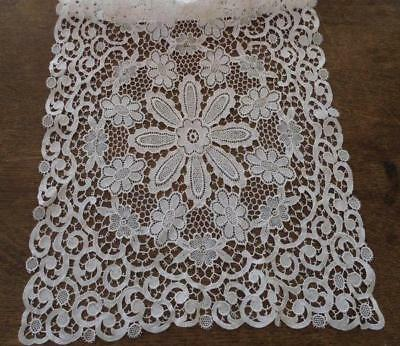 """Vintage Schiffli French Embroidered Lace Table Runner Ivory Floral Cotton 46"""""""