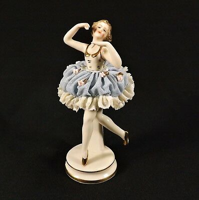 Antique Akerman & Fitze German Dresden Lace Ballerina Figurine #1777 Signed