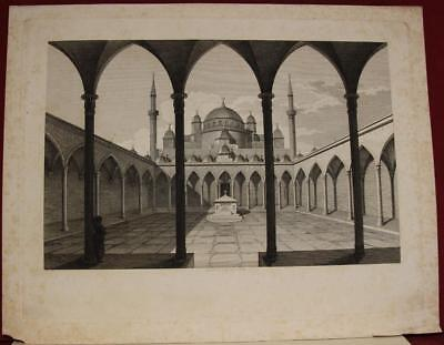Hagìa Sphia Istanbul The Court Turkey 11818 Himmer Antique Copper Engraved View