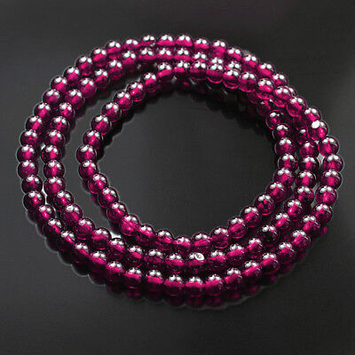 164.5CT 100% Natural Purple Garnet Rhodolite Round Bead Bracelet Necklace CGX577