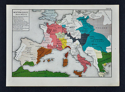 1873 Labberton Map Europe In 1400 England France Aquitaine Spain