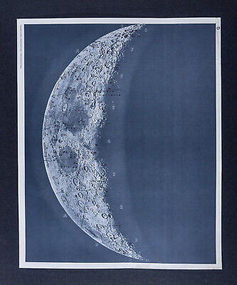 1960 Photographic Lunar Atlas Moon Photo No. 5 Cresent Moon Surface Craters Map
