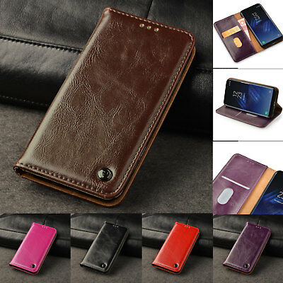 Genuine Real Leather Flip Case Wallet Stand Cover For Samsung Galaxy S8 S9 A8