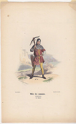 C1 Histoire Armee GRAVURE COULEURS PHILIPPOTEAUX 1850 Arbaletrier XIIe siecle