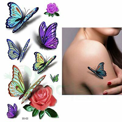 Tatuaggio tattoo temporaneo lavabile Primavera body art rimovibile rose farfalle