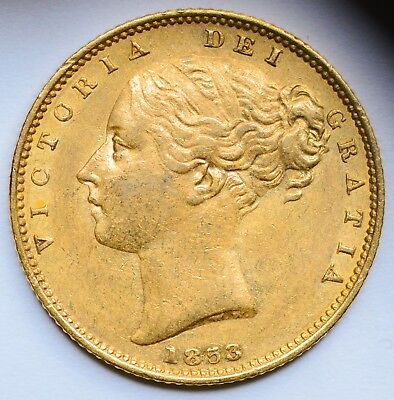 NICE DETAILED 1853 Queen Victoria Young Head Gold Shield Sovereign