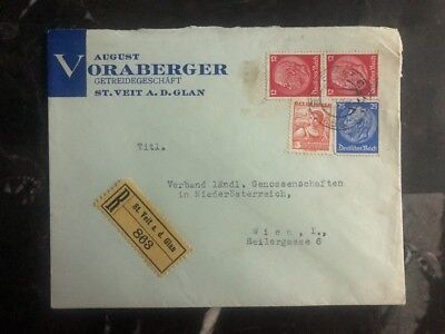 1938 St Veit Austria Registered Mixed Frank Cover To Vienna