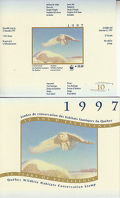 Canada MNH Quebec Conservation 1997 WWF  QW10A IMPERF  Value $ 100.00