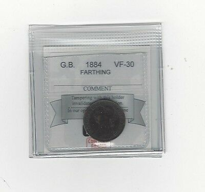 **1884**Great Britain, Farthing,  Coin Mart Graded**VF-30**