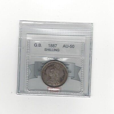 **1887**Great Britain, Shilling, Coin Mart  Graded**AU-50**