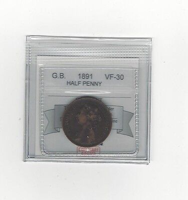 **1891**Great Britain, Half Penny, Coin Mart Graded **VF-30**