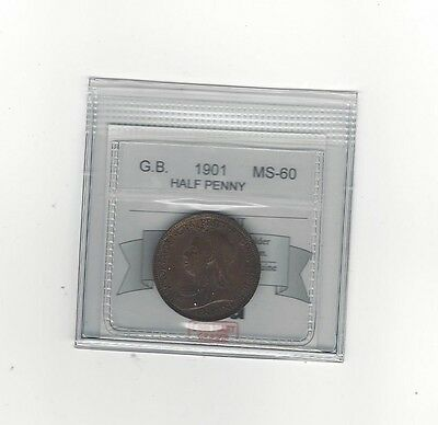 **1901**Great Britain, Half Penny, Coin Mart Graded **MS-60**