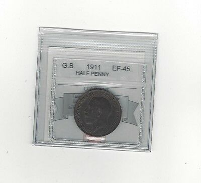 **1911**Great Britain, Half Penny, Coin Mart Graded **EF-45**