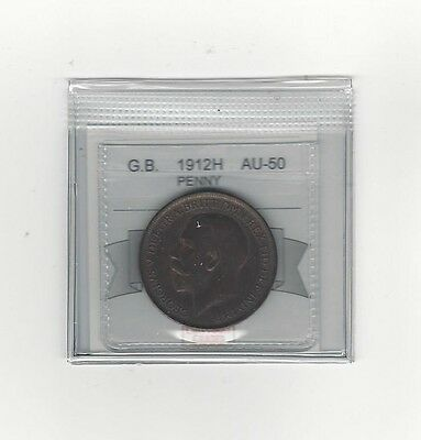 **1912H**Great Britain, One Penny, Coin Mart Graded **AU-50**