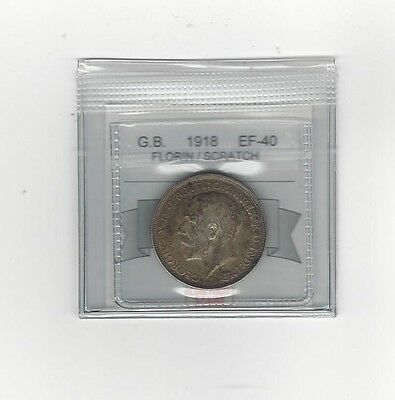 **1918**Great Britain, Florin, Coin Mart  Graded**EF-40 Scratch**
