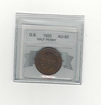 **1920**Great Britain, Half Penny, Coin Mart Graded **AU-50**