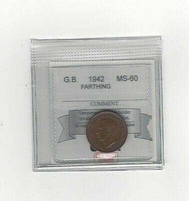 **1942**Great Britain, Farthing,  Coin Mart Graded**MS-60**