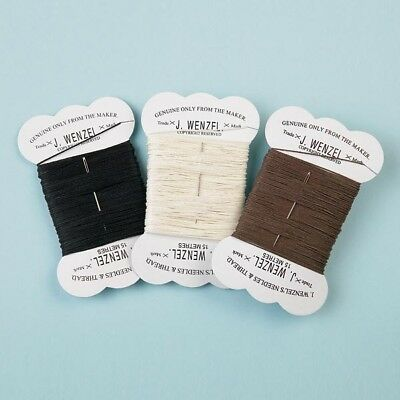 J Wenzel Plaiting Thread With Blunt Needle 15 Metres Black White Brown